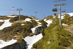 Cableway at mountains Royalty Free Stock Photo
