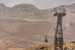 Cableway of the national park of Tenerife that allows to reach the base camp in Pico Teide Canary Islands, Spain royalty free stock images