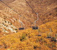 Cableway over the mountains Stock Image