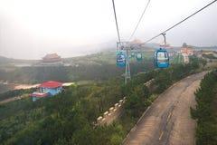 Cableway på Chengshantou sceniskt område nära Weihai, Kina Arkivbilder