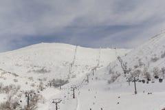Cableway på Mount Hermon Arkivfoton