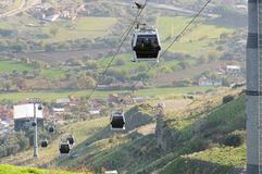 Cableway of Pergamon. The cableway cabins moving up and down, bringing tourists to the upper Acropolis of Pergamon Stock Image