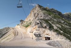 Cableway in Prevala Saddle Royalty Free Stock Photos