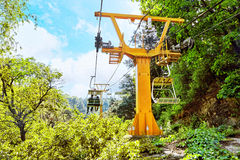 Cableway on the rise on the Great Wall. Section Royalty Free Stock Photography