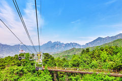 Cableway on the rise on the Great Wall. Section Royalty Free Stock Images