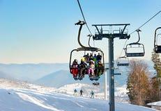 Cableway at ski resort Royalty Free Stock Image