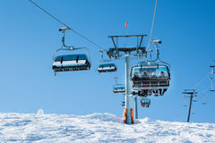 Cableway at the ski resort Royalty Free Stock Photos