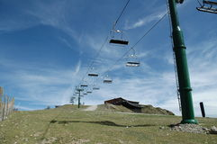 Cableway in ski track stock photo