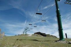 Cableway in ski track Stock Photo