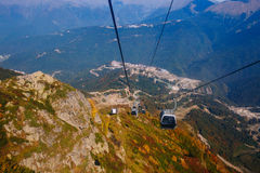 Cableway in Sochi. View from the cabin lift to the city Royalty Free Stock Photos