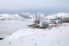 The cableway station of Harmelekopfbahn at Rosshutte in Seefeld Royalty Free Stock Photos
