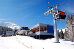 The cableway station at popular ski resort Royalty Free Stock Photography