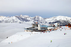 The cableway station  and restaurant Rosshutte in Seefeld Stock Photos