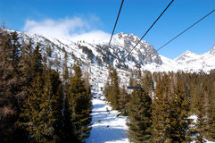 Cableway in Strbske Pleso ski resort Royalty Free Stock Photos