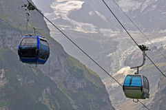 Cableway in Swiss Alps Royalty Free Stock Photos