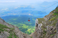Cableway in Swiss Alps Royalty Free Stock Image