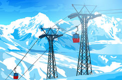 Cableway in Swiss Alps Stock Photo