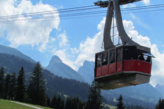 Cableway in Switzerland. Trip by cableway in Switzerland Stock Photo