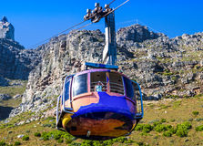 Cableway from Table Mountain with car coming down to station Stock Photo