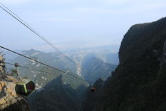 Cableway in Tianmenshan mountain. In hunan province, China. The Tianmenshan cableway is the world's longest mountain passenger ropeway, there are 98 cars and 57 royalty free stock photo