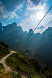 Cableway under blue sky in Tianmenshan mountain Royalty Free Stock Photo