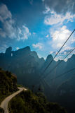 Cableway under blue sky in Tianmenshan mountain Royalty Free Stock Image
