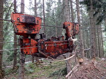 Cableway for timber  transport. Cableway for timber transport , Helpers in timber extraction Stock Photo