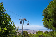 Cableway to Montjuic - Barcelona Spain Royalty Free Stock Photos