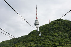 Cableway To Seoul Tower. Stock Photo