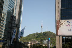 Cableway  to Seoul Tower. Korea Royalty Free Stock Photography