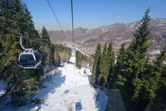 Cableway to the Shymbulak Royalty Free Stock Photo