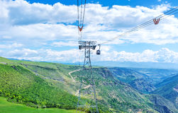The cableway tower in Tatev Stock Image