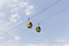 Cableway under blue sky. Zaragoza royalty free stock image