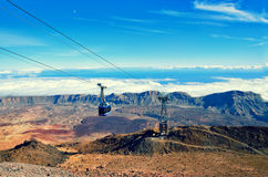 Cableway on the volcano Teide. Touristic way to Pico del Teide mountain. El Teide National park, landmark on Tenerife, Canary Islands, Spain Royalty Free Stock Image