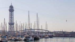 Cableway w starym porcie Barcelona Obraz Royalty Free