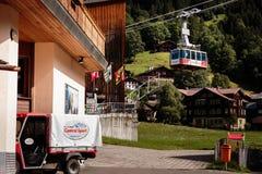Cableway Wengen Mannlichen, Schweiz Royaltyfri Bild