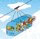 Cableway in winter Royalty Free Stock Photos