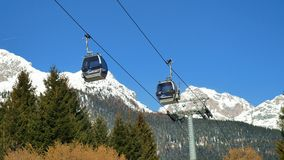 Cableway working skiing area. Cableway working at skiing area stock video