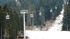 Cableway working skiing area wide view. Cableway working at skiing area wide view stock video footage