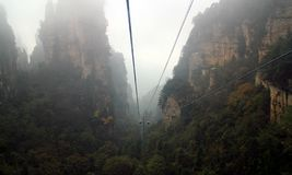 Cableway in zhangjiajie royalty free stock images