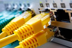 Cabli l'interfaccia con i porti del commutatore a banda larga, la parte anteriore del commutatore immagini stock libere da diritti