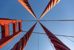 Looking up through the support cables at Golden Gate Bridge support tower in vivid colour royalty free stock photography