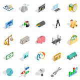 Cabling icons set, isometric style. Cabling icons set. Isometric set of 25 cabling vector icons for web isolated on white background Stock Photo