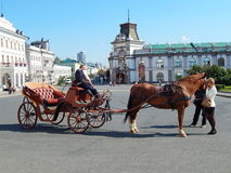 A cabman and tourists petting the horse. In the square of Kazan in the republic Tatarstan in Russia. Royalty Free Stock Image