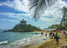 Cabo圣胡安海滩的人们在哥伦比亚 免版税图库摄影