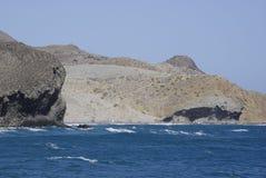 Cabo狂放的海岸线加塔角,在安大路西亚 免版税库存图片