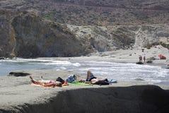 Cabo狂放的海岸线加塔角,在安大路西亚 库存图片