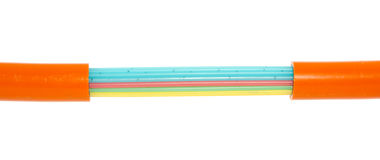 Cabo à terra das fibras ópticas Imagem de Stock