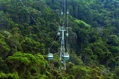 Cabo aéreo da floresta úmida de Skyrail acima de Barron Gorge National Park Que fotografia de stock