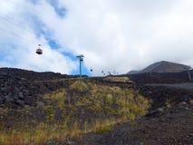 Cabo aéreo do vulcão de Etna Fotografia de Stock Royalty Free